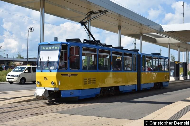 TW 314 als Linie 1 am Hauptbahnhof.